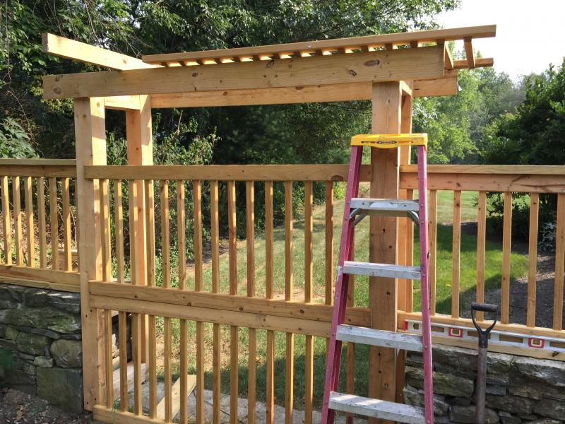 Pergola mid-construction